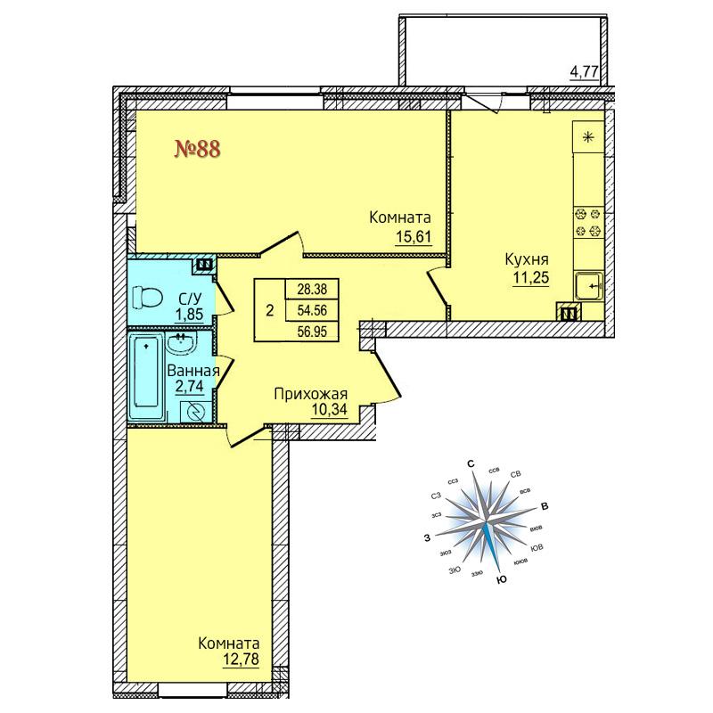 Двухкомнатная квартира №88