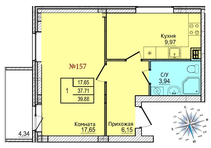 Однокомнатная квартира №157