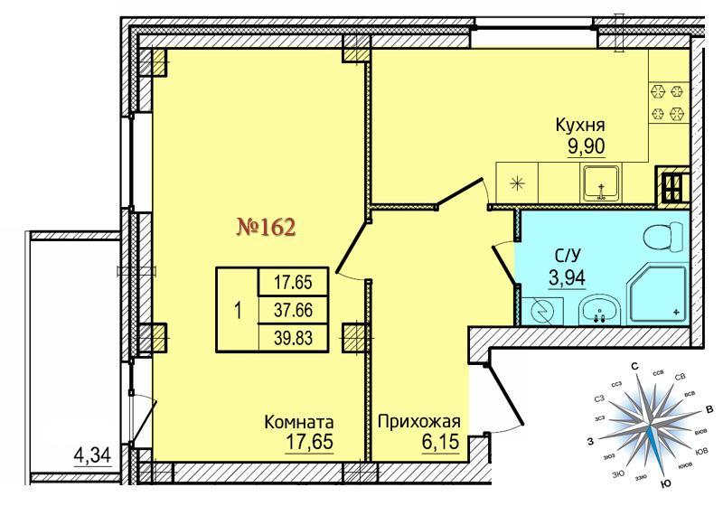 Однокомнатная квартира №162