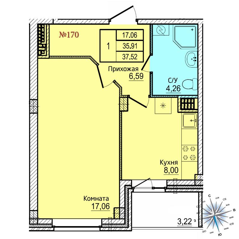 Однокомнатная квартира №170