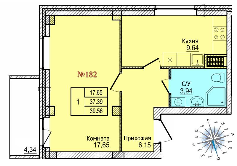 Однокомнатная квартира №182
