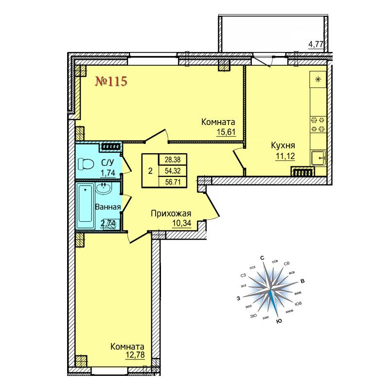 Двухкомнатная квартира №115