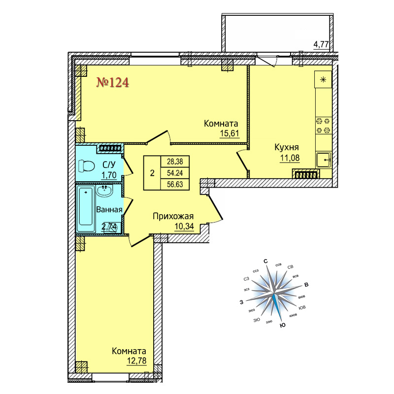 Двухкомнатная квартира №124
