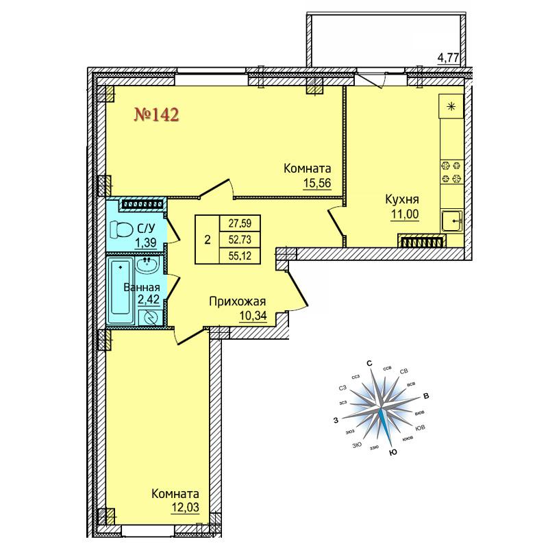 Двухкомнатная квартира №142