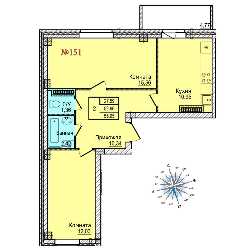 Двухкомнатная квартира №151