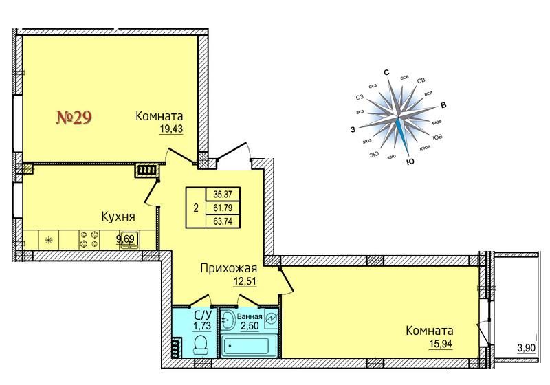 Двухкомнатная квартира №29