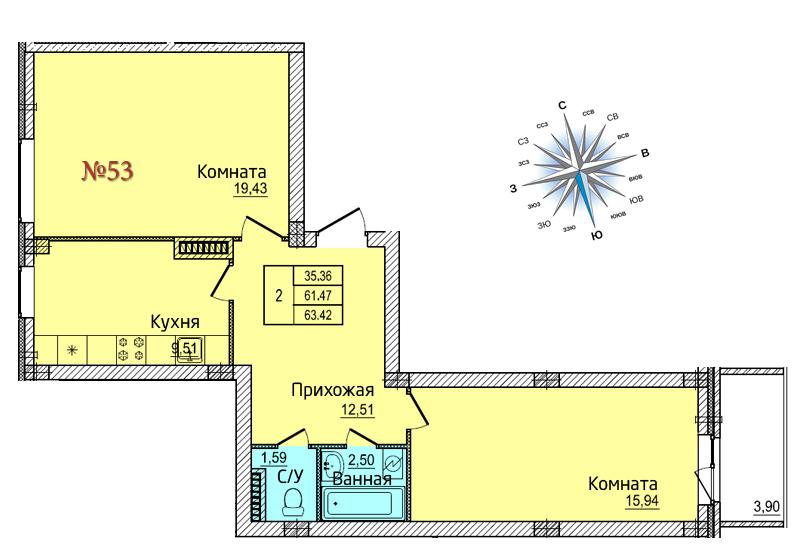 Двухкомнатная квартира №53