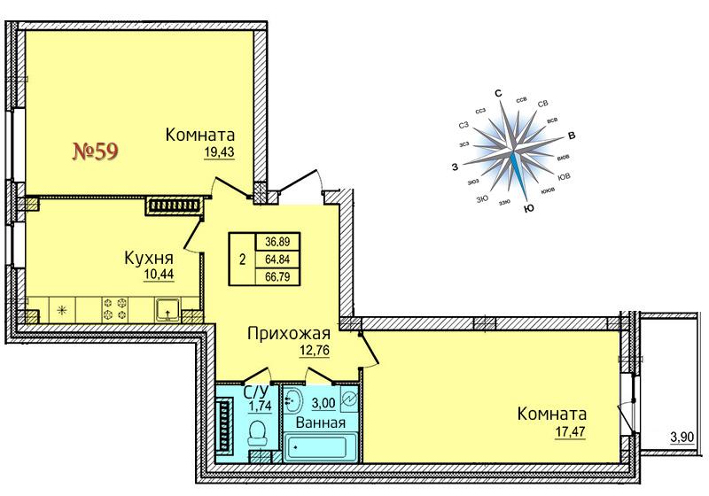 Двухкомнатная квартира №59