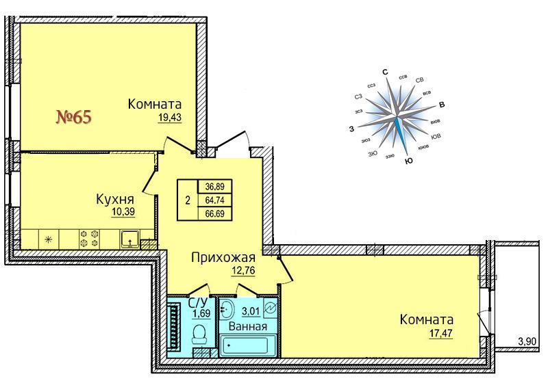 Двухкомнатная квартира №65